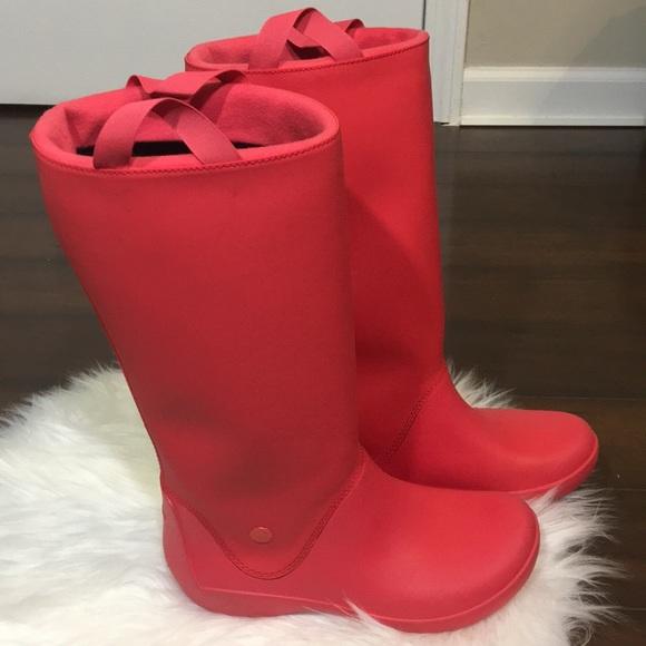 kup tanio wyprzedaż w sklepie wyprzedażowym przedstawianie Crocs Womens RainFloe Waterproof Boot Shoes sz 7